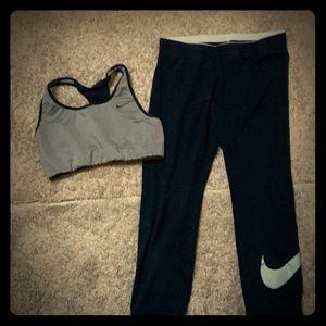 Bundle of NIKE sports bra and capris leggings